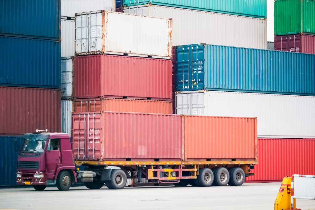 container depot and cargo truck, modern logistics background